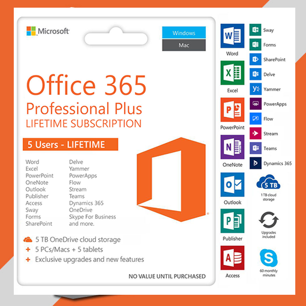 today deal - MICROSOFT® OFFICE 365 LIFETIME for PRO & HOME + 1TB ONEDRIVE (  FOR 5PCS : WINDOWS / MAC / ANDROID )